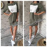 Красивое женское зеленое платье с прошивным 3D накатом. Арт-1294/49