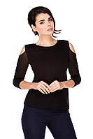 Колет молодежная черная блузка открытые плечи