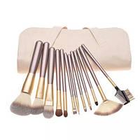 Набор кистей для макияжа 12 штук  + чехол натуральный ворс и нейлон, фото 1