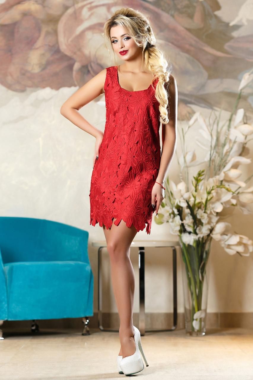 7f004edaef03d74 Эффектное Короткое Платье с Роскошными Цветами Красное S-XL - купить ...