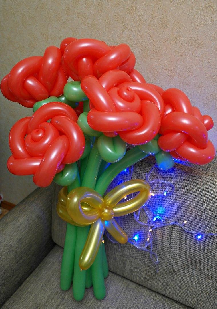 Цветок Роза из шаров. Букеты.