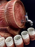 Бочка для вина керамическая 9 л + 6 рюмок