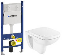 Комплект: Debba Rimless унитаз подвесной, сиденье твердое slow-closing, Geberit Duofix 458.126.00.1