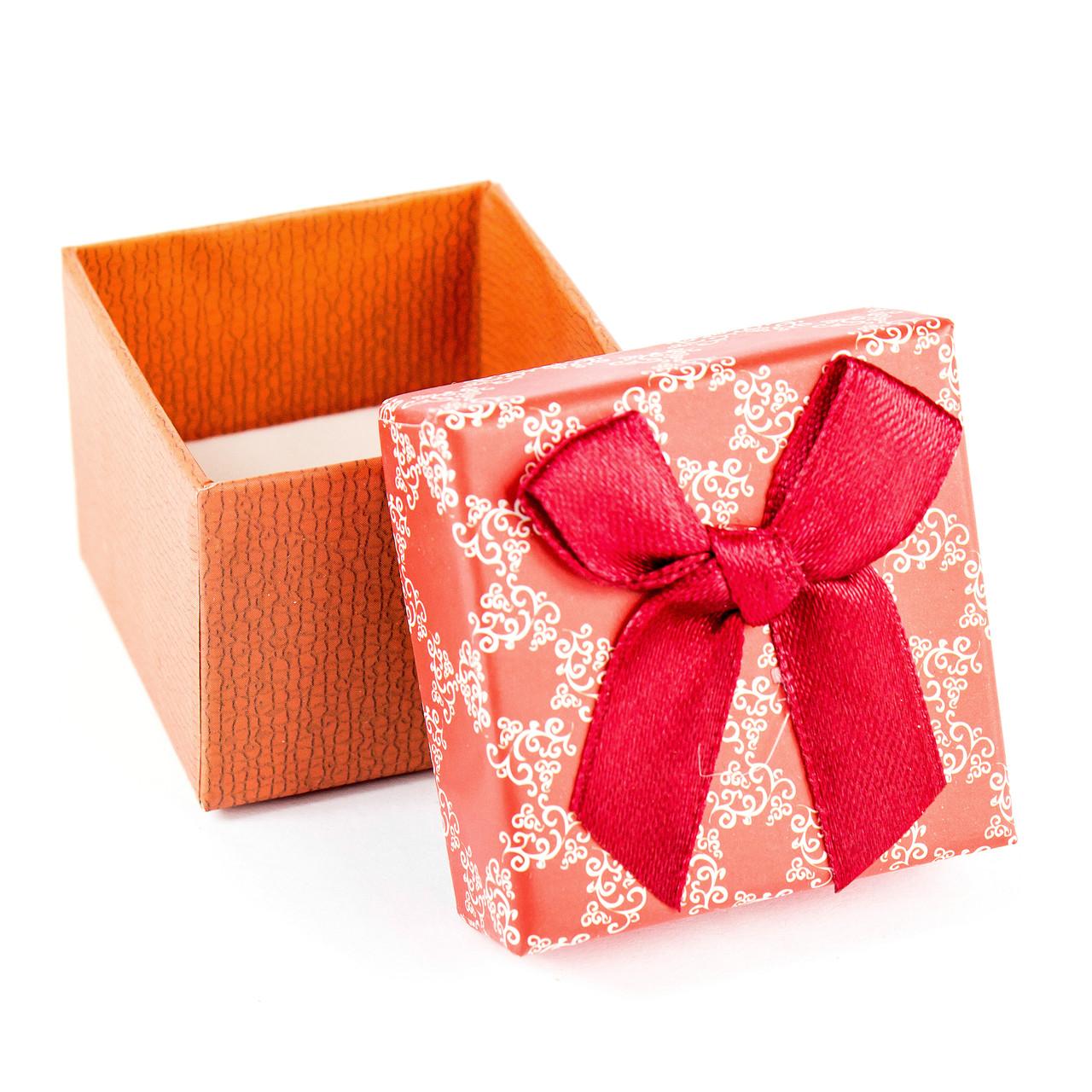 Подарункова коробочка для кільця червоно-оранжева з червоним бантиком 5 х 5 х 3 см