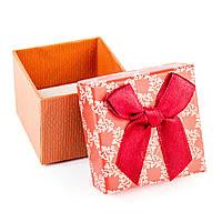 Подарочная коробочка для кольца красно-оранжевая с красным бантиком 5 х 5 х 3 см