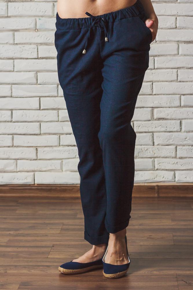 Женские брюки лен на шнурке темно-синие