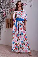 Длинное белое платье с цветами