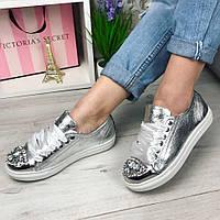 535 Кеды КАМНИ НАТУР. КОЖА,цвет серебро железный носок-камни подошва 2,5 см размер в размер.