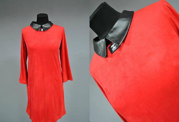 """Красивое женское платье разлетайки """"мокрая кожа"""" воротник из экокожи 42 размер, фото 2"""