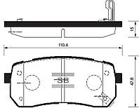 Задние тормозные колодки дисковые на HYUNDAI VERACRUZ, (пр-во Sangsin SP1192)