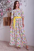 Нарядное длинное белое платье с цветочным рисунком