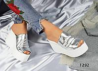 Женские босоножки сабо на платформе, кожаные, серебро / босоножки женские,  удобные