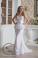 Свадебное платье рыбка бежевое (айвори) с баской, фото 1