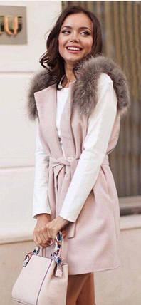 Женская кашемировая жилетка с мехом на плечах№1011, фото 2