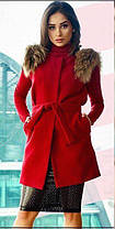 Женская кашемировая жилетка с мехом на плечах№1011, фото 3