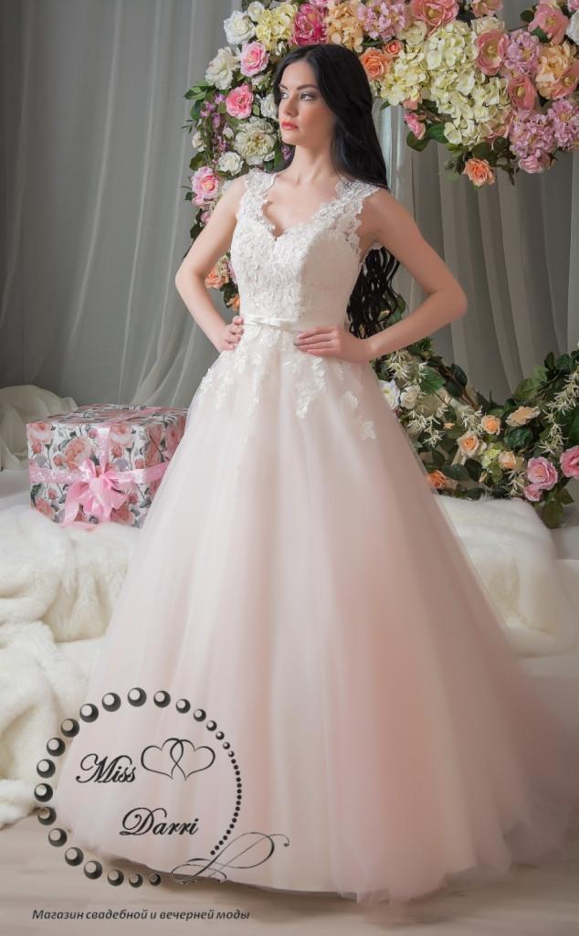 Платье свадебное розовое с айвори