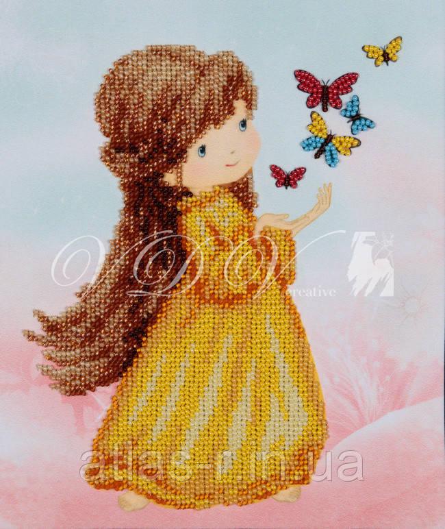 """Схема для частичной вышивки бисером """"Девочка с бабочками"""""""
