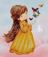 """Схема для часткової вишивки бісером """"Дівчинка з метеликами"""""""