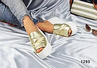 Женские босоножки сабо на платформе, кожаные, золотистые / босоножки женские,  модные