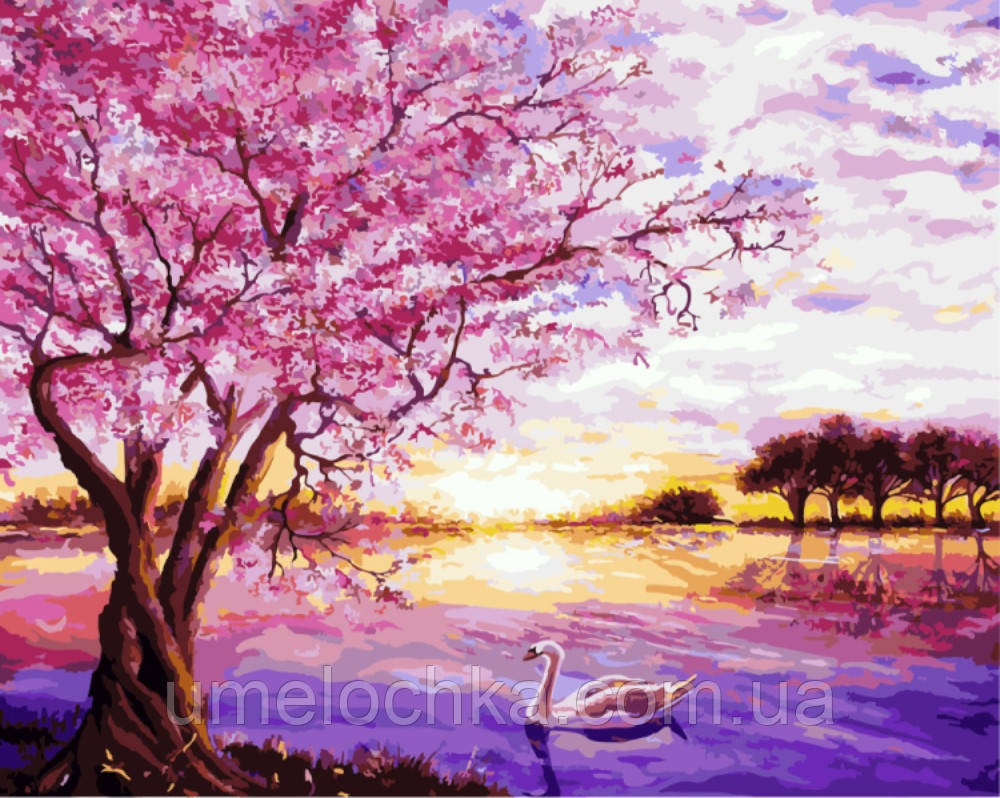 Картина раскраска по номерам на холсте Закат в розовых тонах (BRM-G009) 40 х 50 см