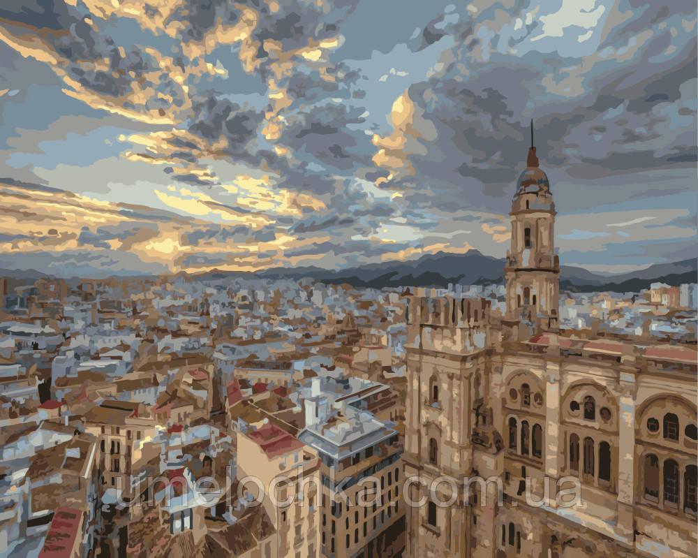 Картина раскраска по номерам на холсте Рассвет над Барселоной (BRM-G010) 40 х 50 см