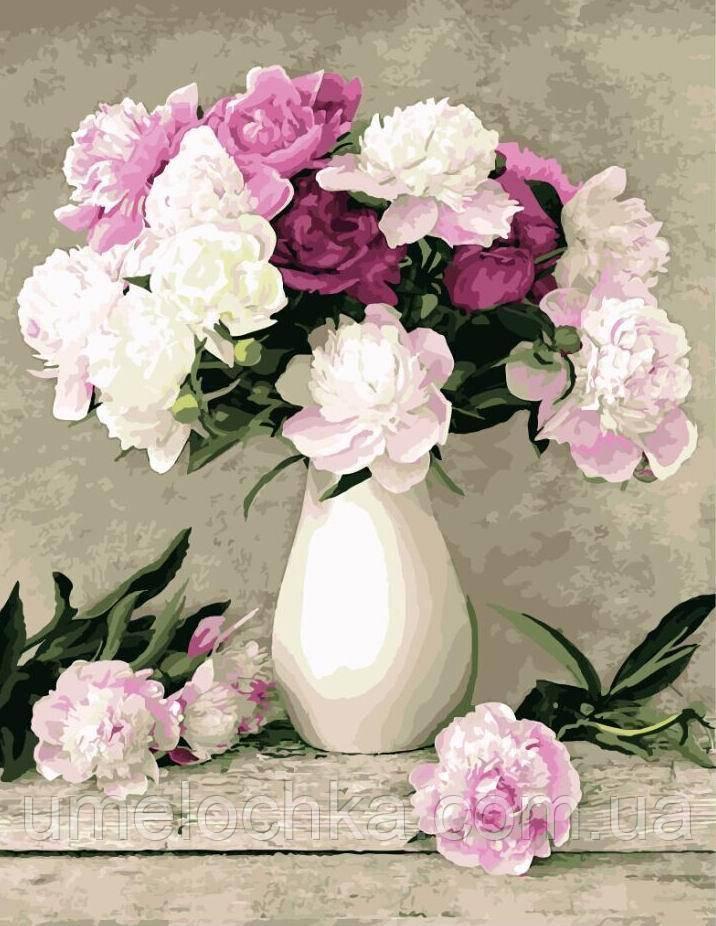 Картина раскраска на холсте цветы Пионы в белой вазе (BRM-G069) 40 х 50 см