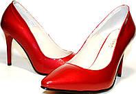 Туфли лодочки El Passo, кожа, лак, шпилька 10 см, красные