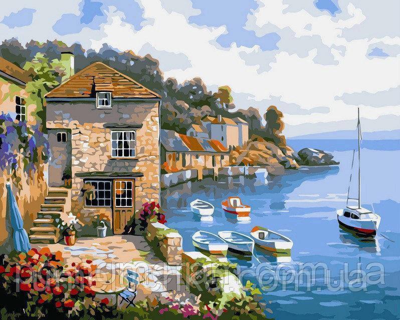 Картина раскраска по номерам пейзаж Дом на берегу океана худ Сунг, Ким (BRM-G296) 40 х 50 см