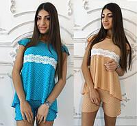 Женская пижама шорты и футболка с кружевом