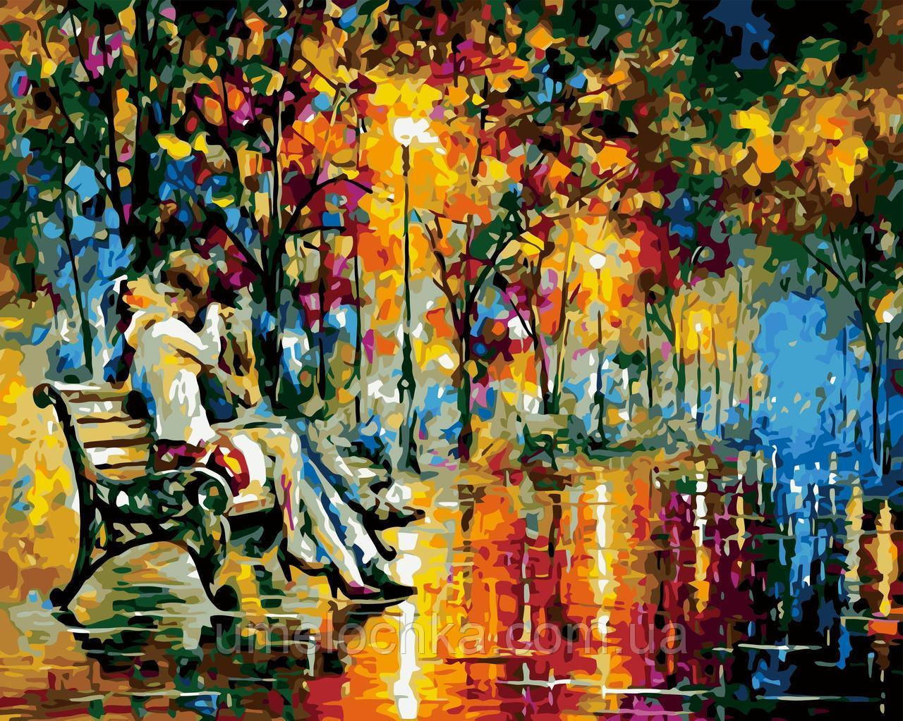 Картина-раскраска Поцелуй на скамейке худ Афремов, Леонид (BRM-GX7045) 40 х 50 см