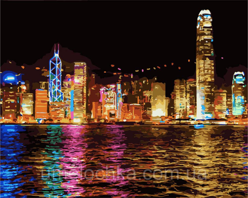 Картина-раскраска Ночной Гонконг худ Спренг, Бен (BRM-GX7256) 40 х 50 см