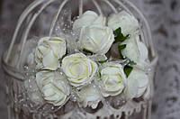 Букет розы с фатином (цена за букет из 10 шт). Цвет - молочный