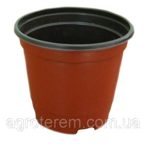 Горшок (100х70х90мм) 500мл. (Китай), технологический для рассады, круглый, коричневый.
