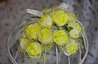 Букет розы с фатином (цена за букет из 10 шт). Цвет - желтый