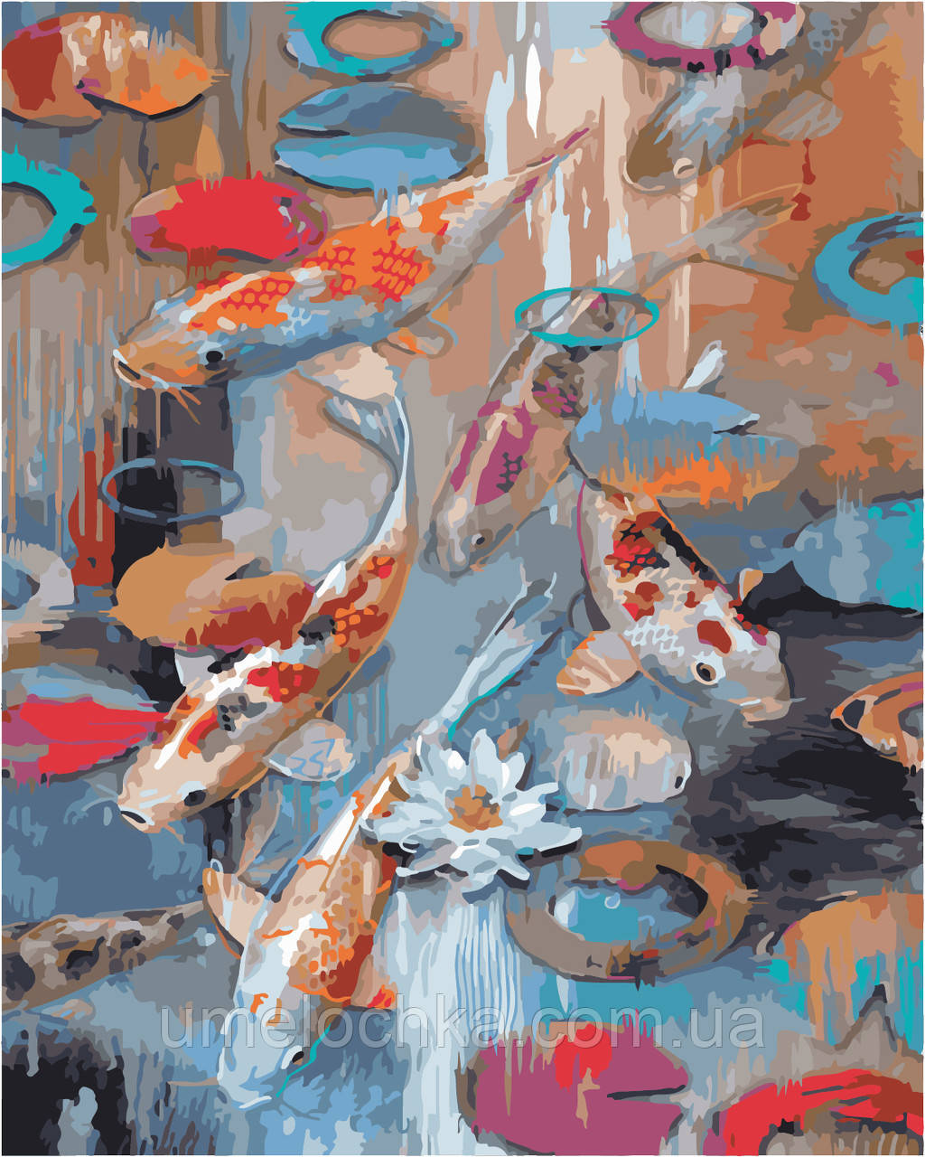 Раскраска на холсте без коробки Идейка Карпы Кои Худ Тимоти Паркер (KHO2481) 40 х 50 см