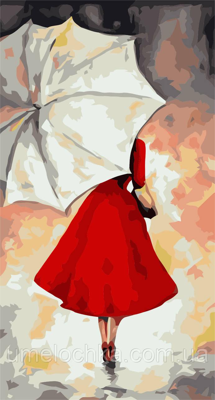 Картина по номерам без коробки Идейка Под белым зонтиком (KHO2654) 27 х 50 см