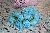 Букет розы с фатином (цена за букет из 10 шт). Цвет - голубой