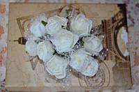 Букет розы с фатином (цена за букет из 10 шт). Цвет - белый