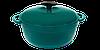 Кастрюля  чугунная эмалированная с чугунной крышкой. Цветная глянцевая. 5,5 литра. Зеленый