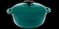 Кастрюля  чугунная эмалированная с чугунной крышкой. Цветная глянцевая. 5,5 литра. Зеленый, 260х130 мм
