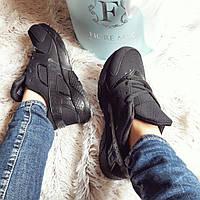 черные женские кроссовки на шнурках копия хуараче код225