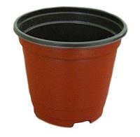 Горшок (120х85х105мм) 850мл. (Китай), технологический для рассады, круглый, коричневый.