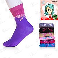 Бамбуковые носки подростковые для девочки с узором и бамбуковым волокном Корона C3508-1 (12 ед. в упаковке)