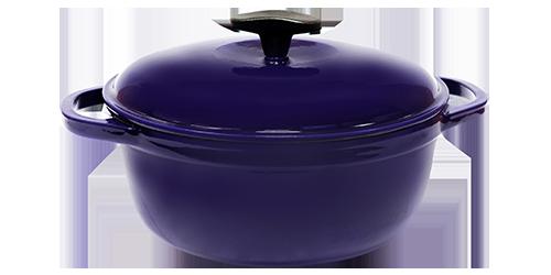 Кастрюля  чугунная эмалированная с чугунной крышкой. Цветная глянцевая. 5,5 литра. Синий, 260х130
