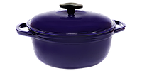 Кастрюля  чугунная эмалированная с чугунной крышкой. Цветная глянцевая. 5,5 литра. Синий
