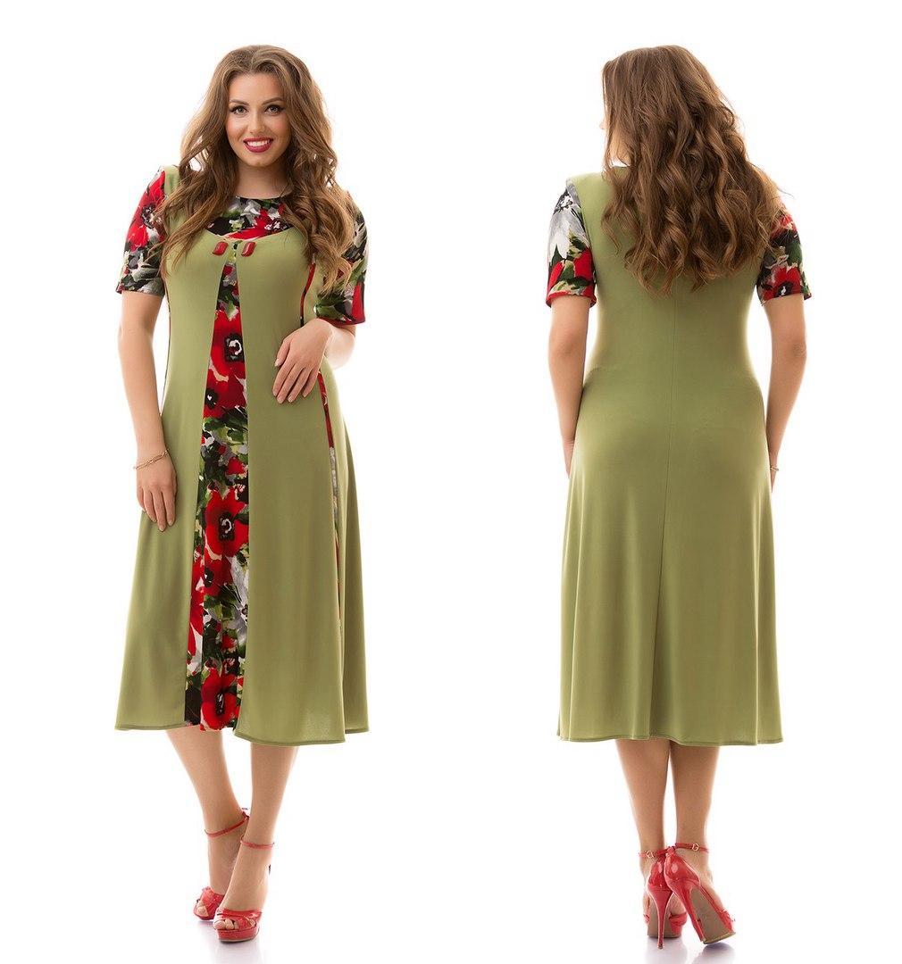 be03ff82e17 Купить Платье батала трикотаж оптом и в розницу от интернет-магазина ...