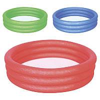 BW Бассейн 51024 детский,круглый,3 кольца,102-25см,рем зап,101л,3 цвета, в кульке, 26-25см Bestway (BOC010769)