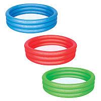 BW Бассейн 51025 детский,круглый,3 кольца,122-25см,3 цвета(красн,син,зел),в кульке,26-25-2см Bestway (BOC014515)