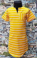 Детское летнее платье в полосочку, р. 116-134, т. желтенькое