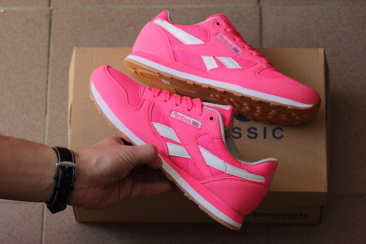 Ярко-розовые женские кроссовки Reebok Classic(Реплика)  продажа ... 29ed2aad41c